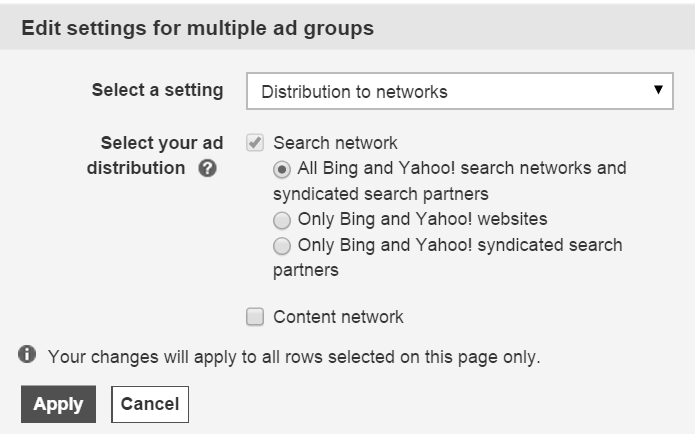bing network distribution settings